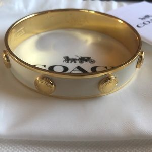 Great Condition Coach White Enamel Bracelet M